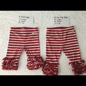 18 Month Toddler Girl Sew Sassy Icings Capri Length Leggings Maroon Stripes